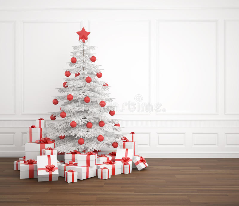 White and red christmas tree. Decorated with a pile of presents in an empty white room, copy space placed right vector illustration