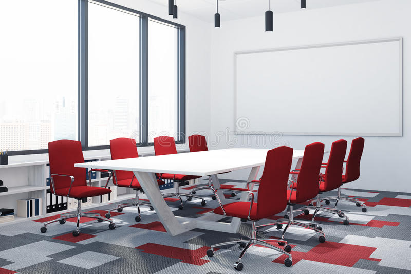 White And Red Conference Room Poster Corner Stock Illustration - Corner conference table
