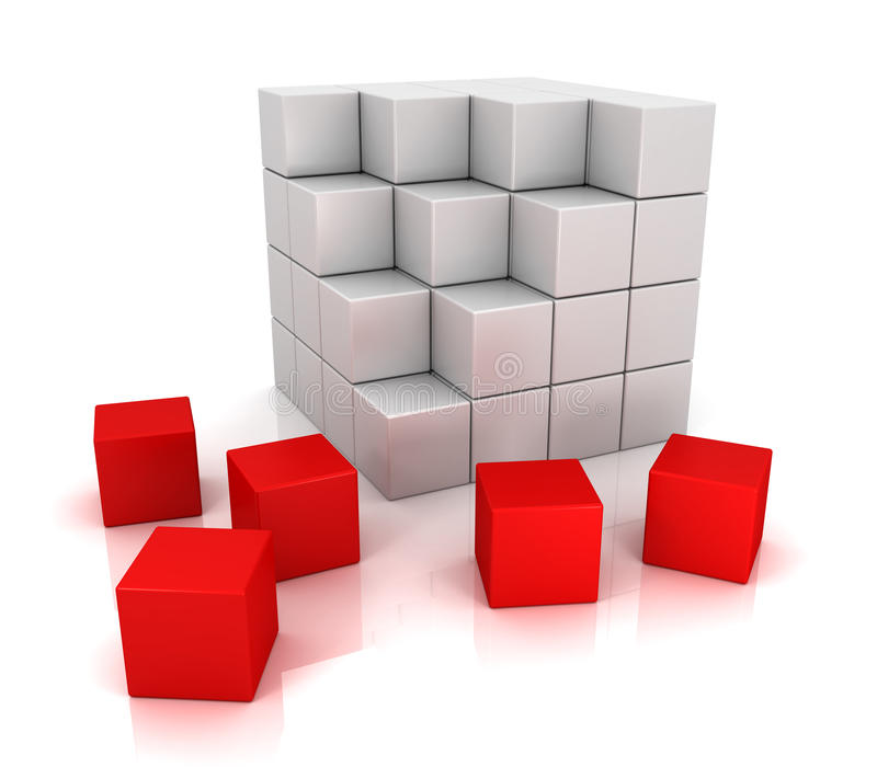 White and red cubes 3d. Block box shape vector illustration