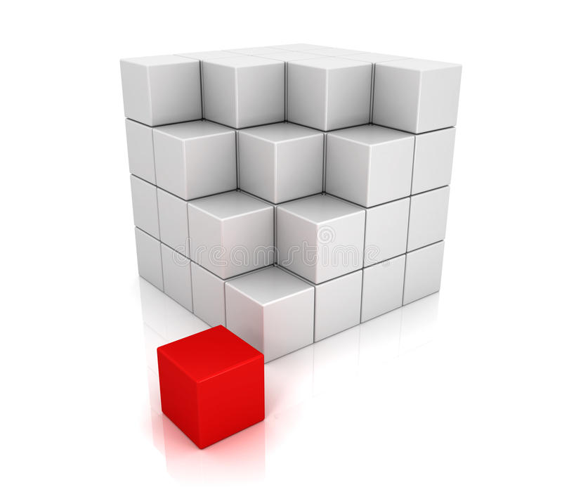 White and red cubes 3d. Block box shape stock illustration
