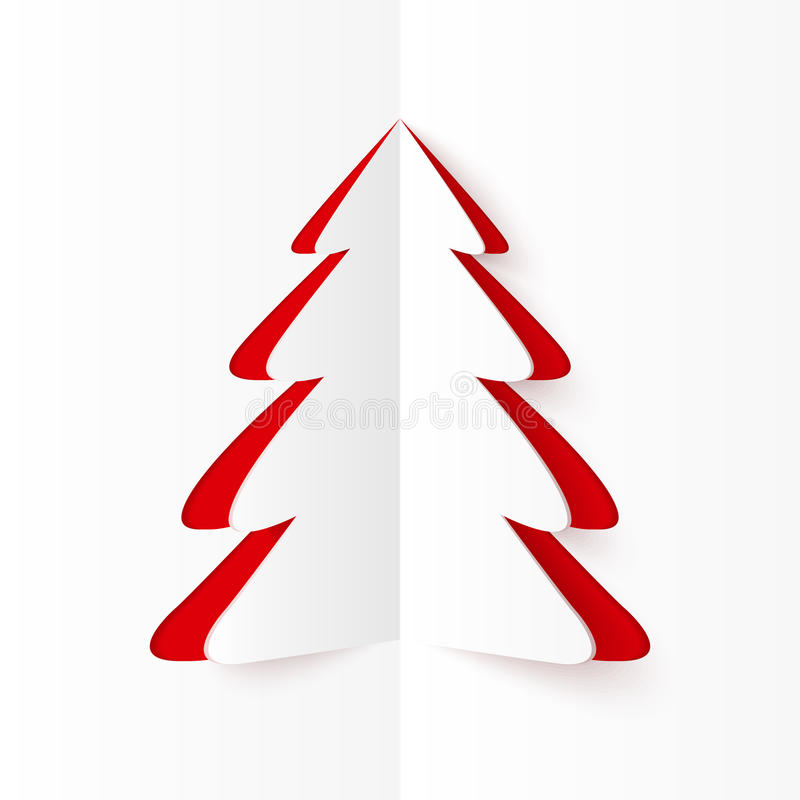 White and red cutout paper Christmas tree stock illustration