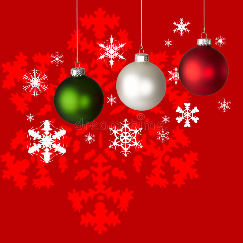 Download White, Red & Green Christmas Ornaments & Snowflake Stock Image - Image: 17134347