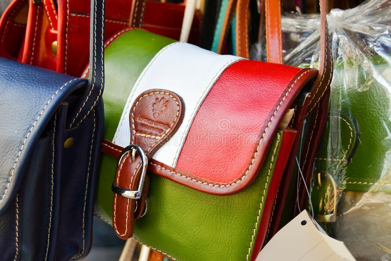 Handcrafted handbag with colors of the Italian flag stock images