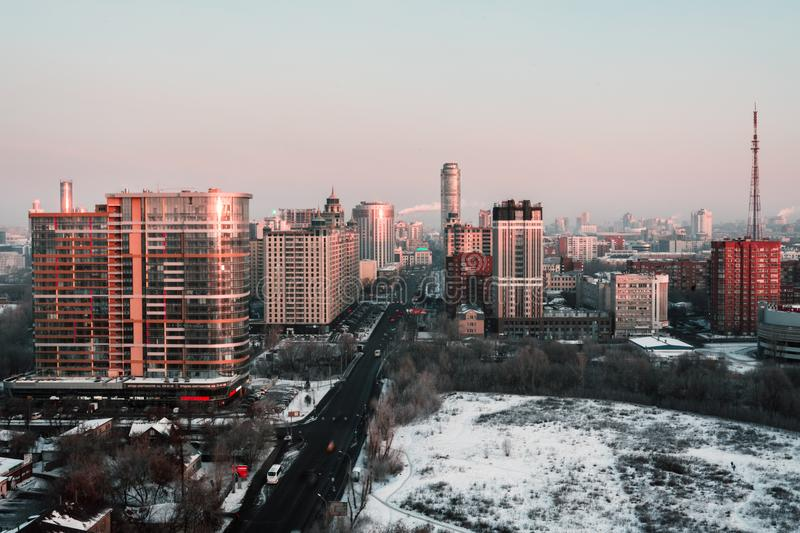 White and Red High-rise Building during Winter Season royalty free stock photos