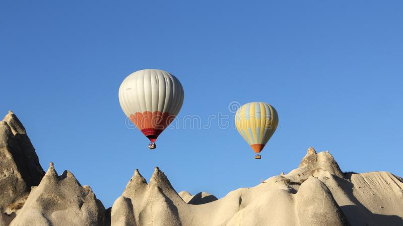 White and Red Hot Air Balloon royalty free stock photo