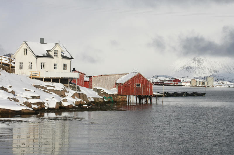White & red house of Lofoten. Island with stormy backgraound royalty free stock image
