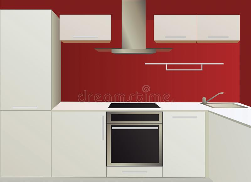 White and red kitchen with household appliances