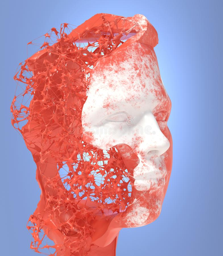 White and red male head formed by neuronal structure. royalty free illustration