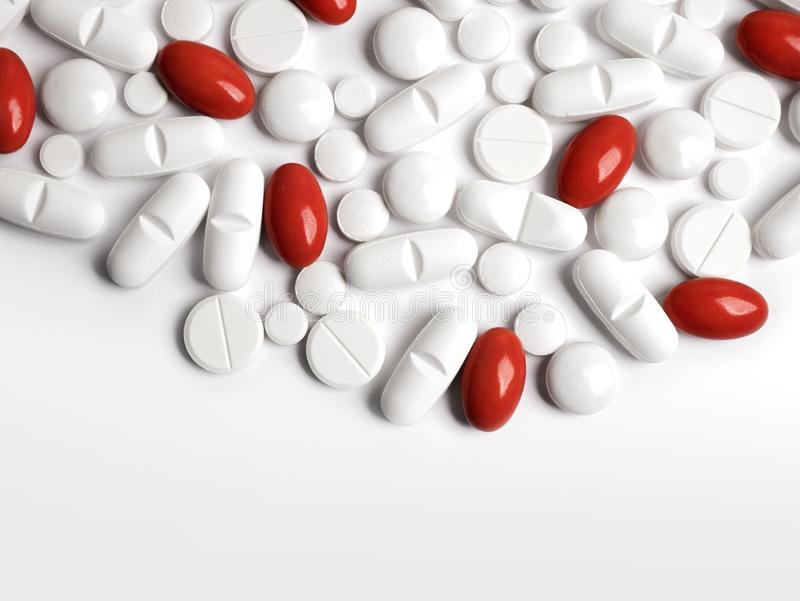 White and red pills royalty free stock photo