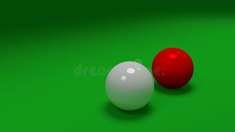 White and red snooker balls on green felt mat, colse up, copy space. 3D computer generated image of white and red snooker balls on green felt mat, colse up, copy stock illustration