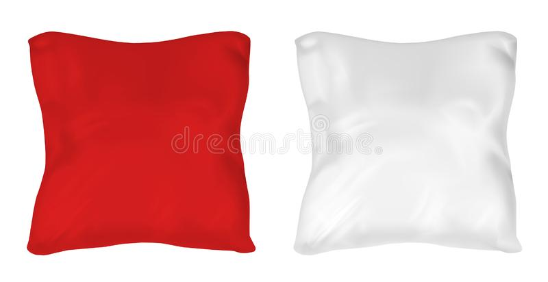 White and red square pillow. Vector mock up.  stock illustration