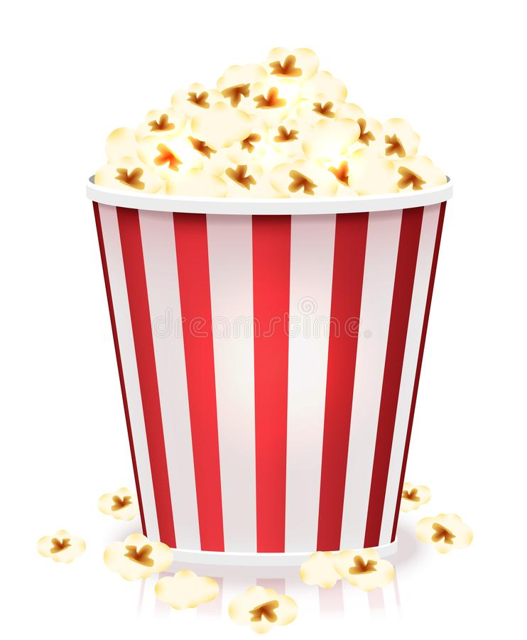 White and red striped bucket of popcorn kernels. Side view vector illustration isolated on white background. stock image