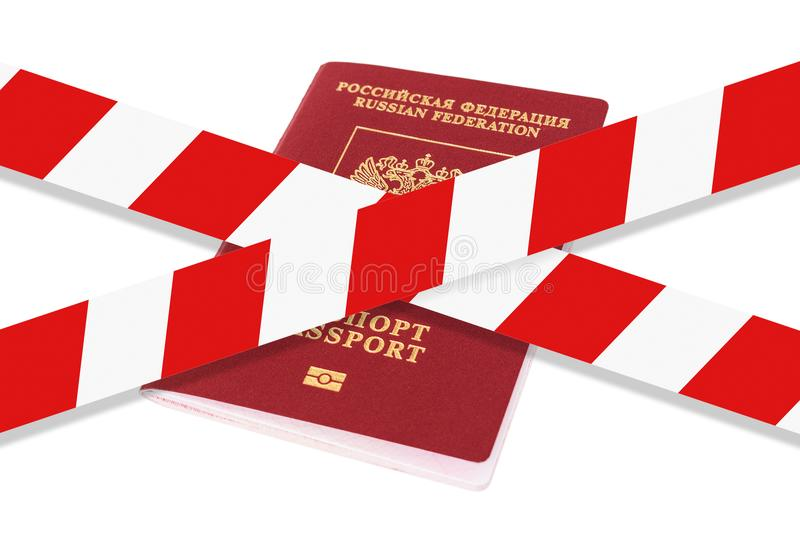 White and red warning tape over the passport. royalty free stock images