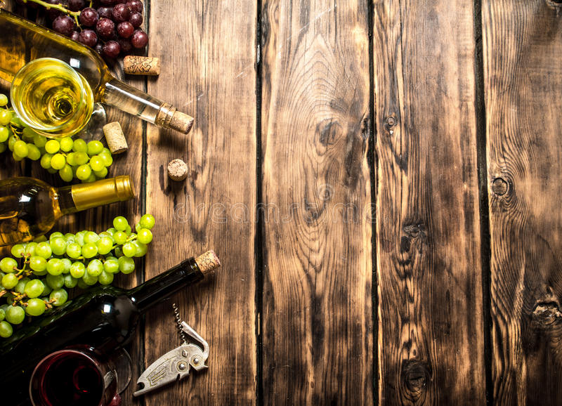 White and red wine royalty free stock photos