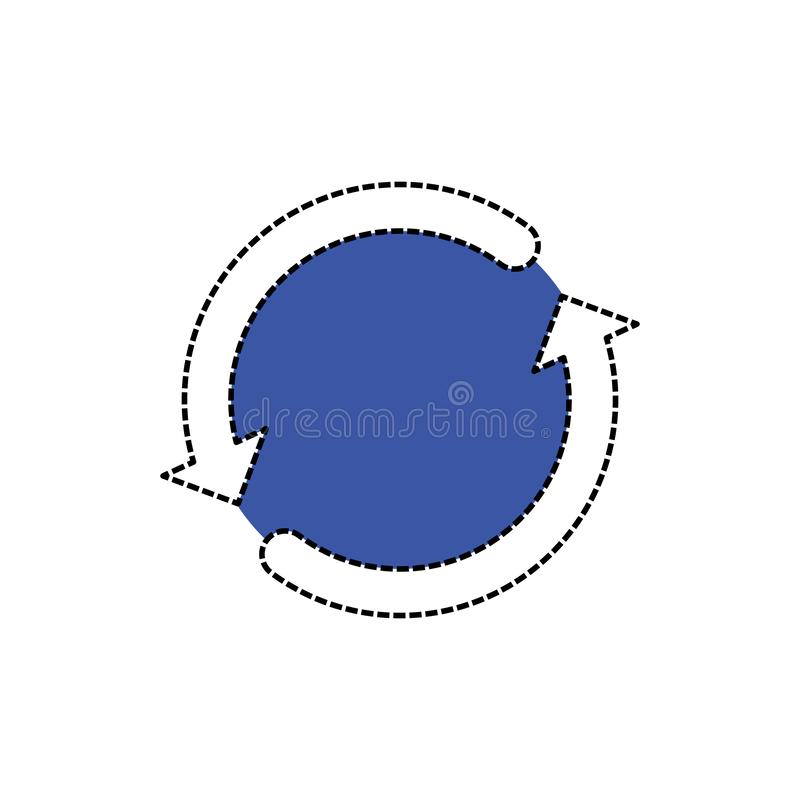 White reload sign with blue backside. Reload icon vector sign. stock illustration