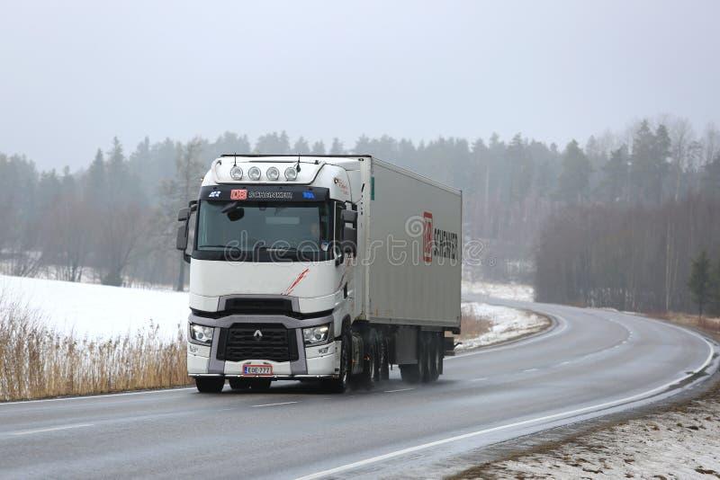 White Renault Trucks T Hauls Cargo in Winter stock image
