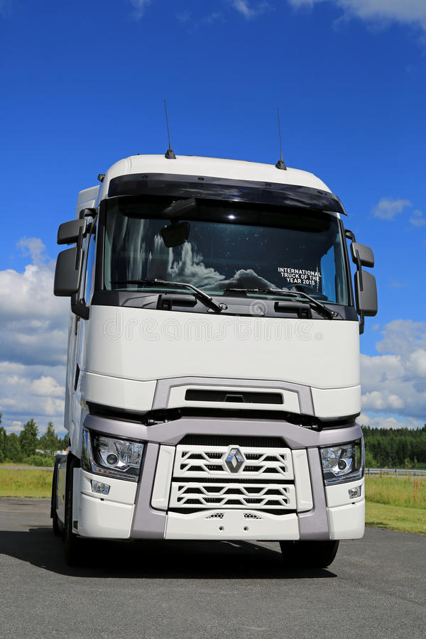 White Renault Trucks T with High Sleeper Cab. FORSSA, FINLAND - JULY 25, 2015: White Renault trucks T tractor with High Sleeper Cab. The High Sleeper Cab is royalty free stock photo