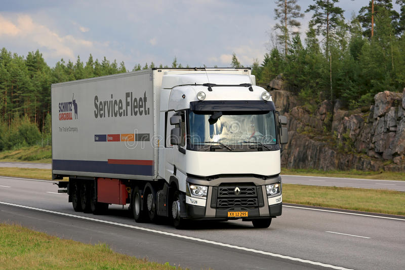 White Renault Trucks T Semi Trailer on Motorway stock photos