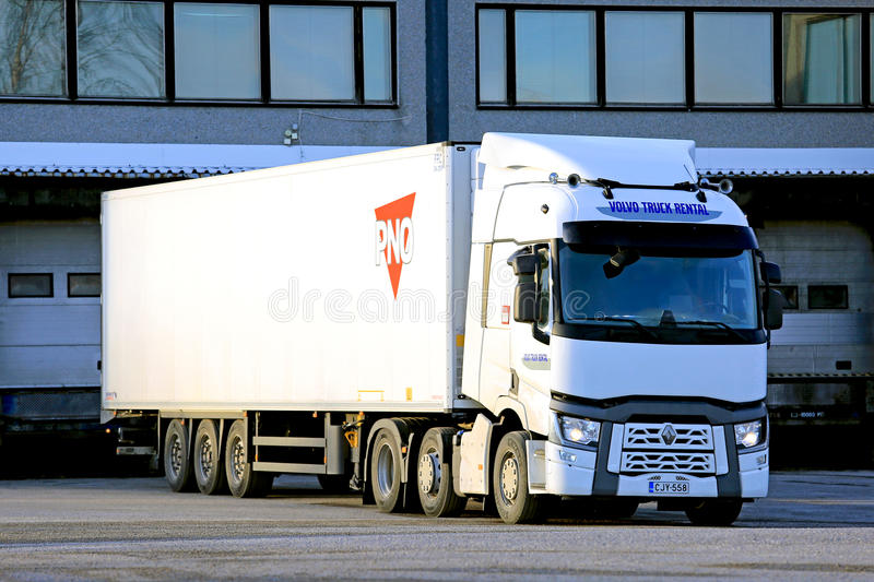 White Renault Trucks T Semi by Warehouse royalty free stock photography