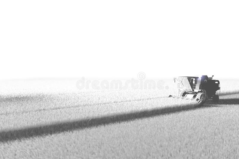 Industrial 3D illustration of big rural combine harvester working on field rendered in white color in aero shooting style for. White render in air photography royalty free illustration