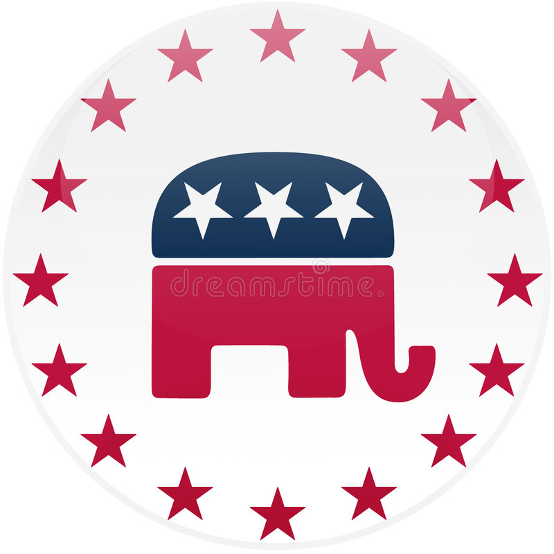 White Republican Button. Election themed round button with 3d effect, Republican party logo - clipping path included