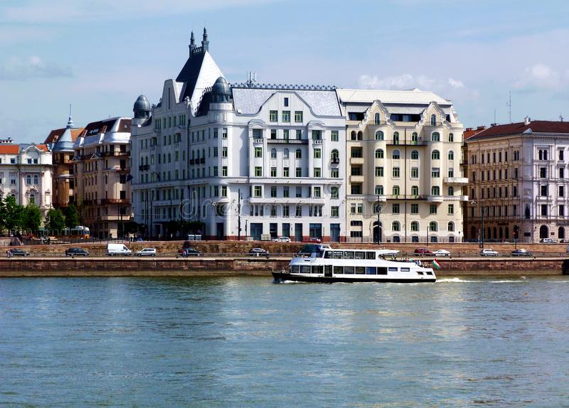White Residential Building Along the Danube in Budapest royalty free stock photography