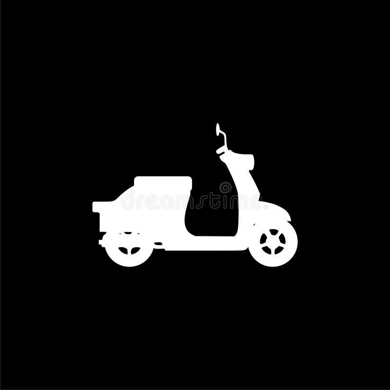 Retro Scooter Silhouette icon or logo on dark background. White Retro Scooter Silhouette icon or logo on dark background royalty free illustration
