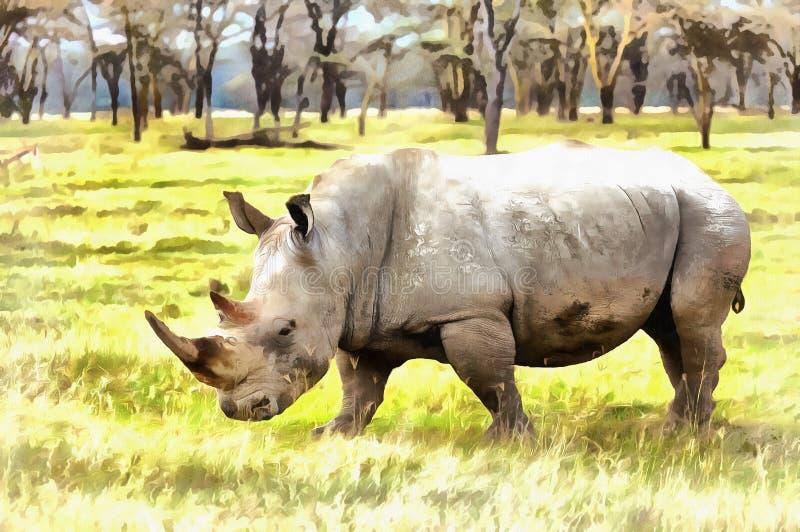 White rhinoceros Ceratotherium simum colorful painting. Lake Nakuru National Park, Kenya royalty free stock photo
