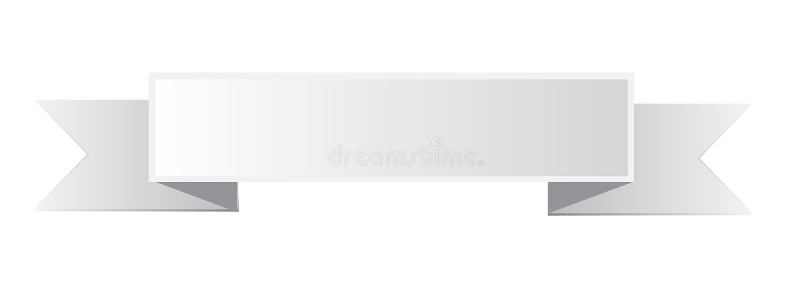 White ribbon banner icon on white background. royalty free stock photography