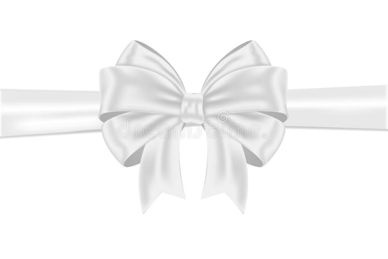 White ribbon bow wrapping. Vector 3d illustration isolated on white background vector illustration