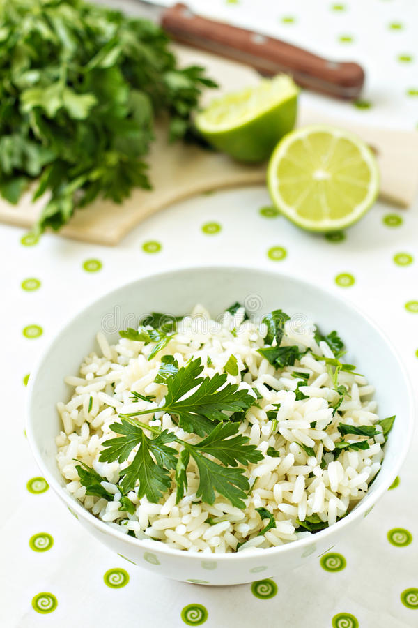 White Rice With Lime And Parsley Royalty Free Stock Photo