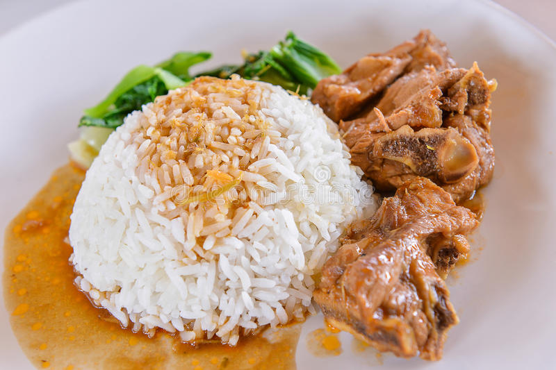 Download White Rice With Pork Rib And Vegetable Stock Image - Image of thai, food: 32357647