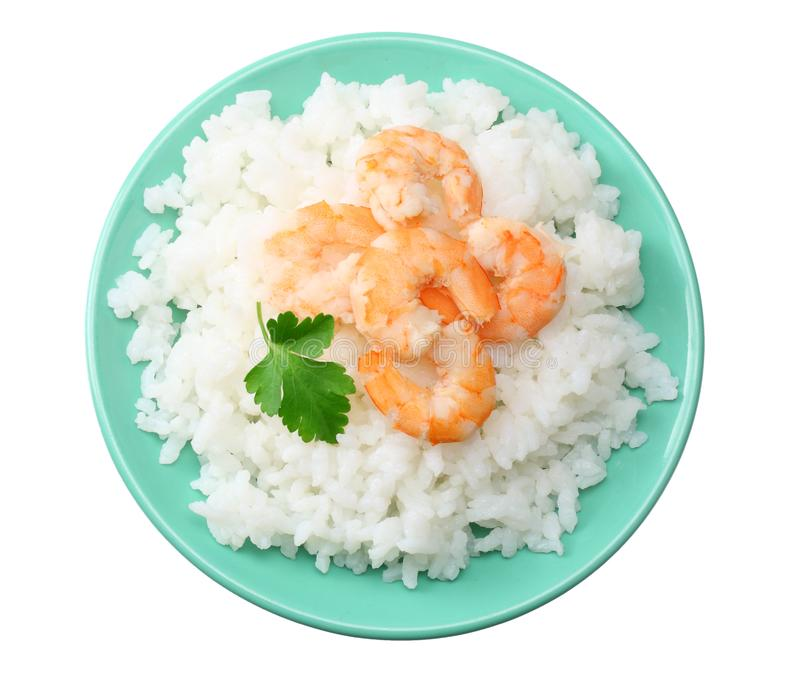 White rice with shrimps in blue bowl isolated on white background. top view royalty free stock images