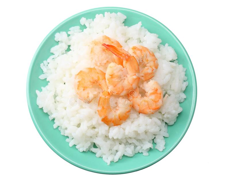 White rice with shrimps in blue bowl isolated on white background. top view stock photos