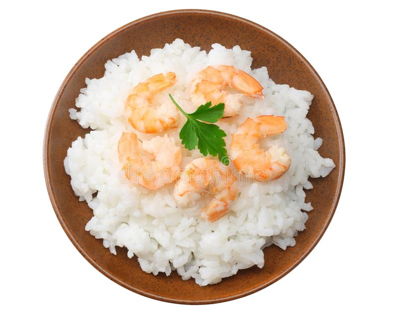 White rice with shrimps in brown bowl isolated on white background. top view royalty free stock photos