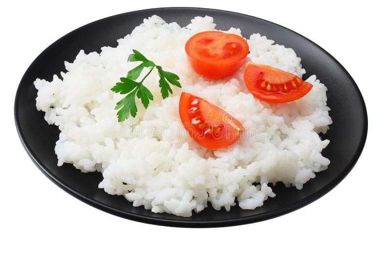 White rice with tomato in black bowl isolated on white background stock photo