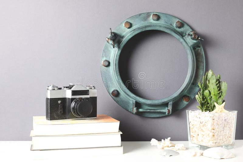 White ring frame mock up on a book shelf on gray background royalty free stock images