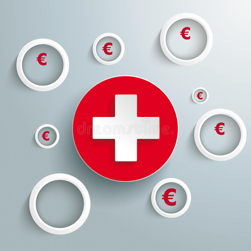 White Rings Euro Cross PiAd. Infographic with white rings on the grey background. Eps 10 file vector illustration