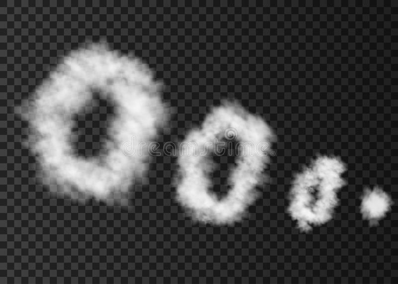 White rings of smoke on transparent background. royalty free illustration