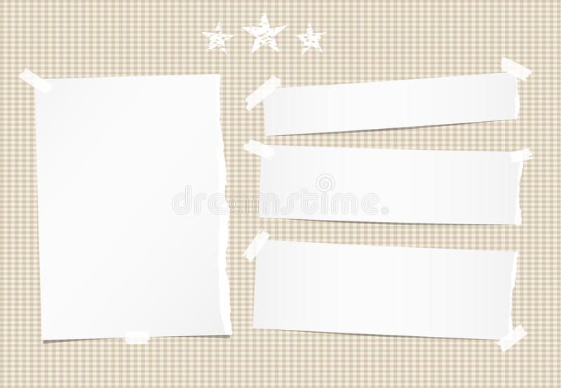 White ripped note, notebook, copybook paper sheet, strips and stars on brown squared background. White ripped note, notebook, copybook paper sheet, strips and royalty free illustration