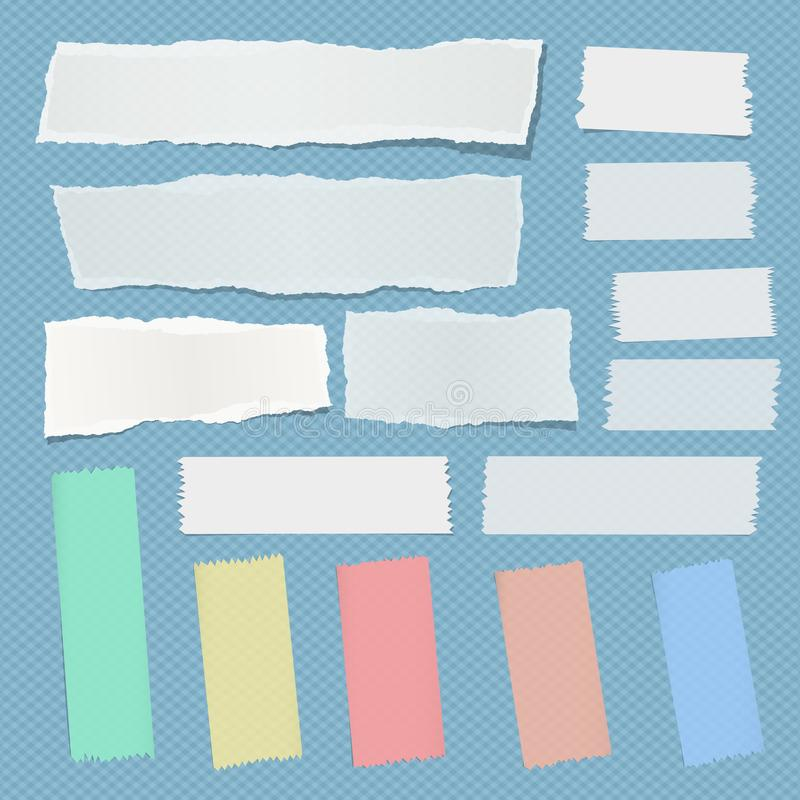 White ripped notebook, note paper strips, colorful sticky adhesive tape for text or message on blue squared background. White ripped notebook, note paper strips stock illustration