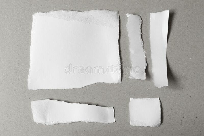 White ripped notes, set of pieces of torn different shapes paper on gray. Background stock photo