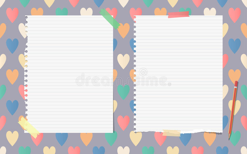 White ripped ruled notebook, copybook, note paper with pencil stuck. On pattern created of colorful heart shapes vector illustration