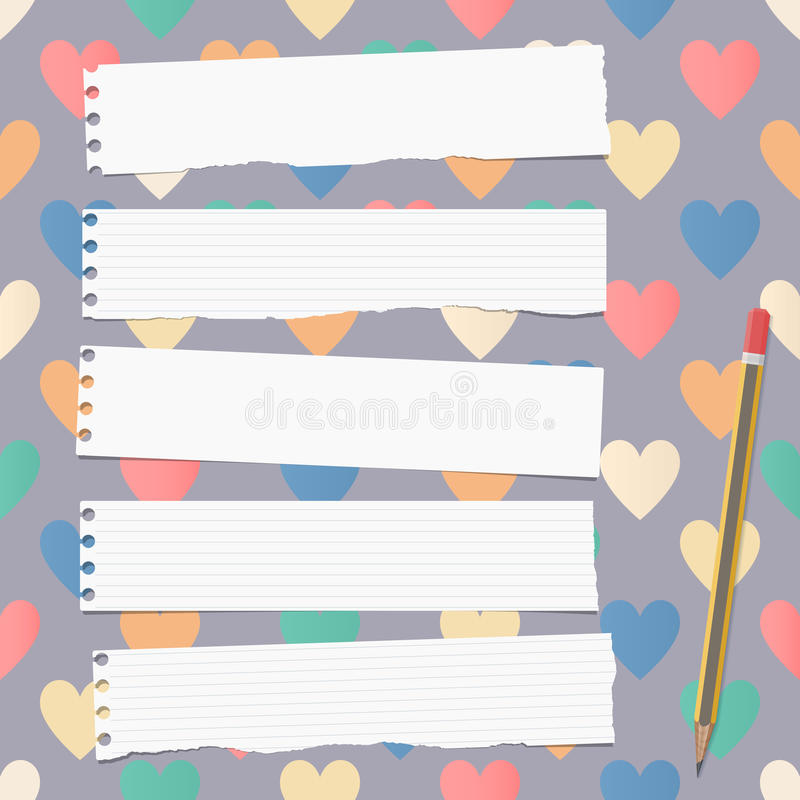 White ripped ruled notebook, copybook, note paper strips with pencil stuck on pattern created of colorful heart shapes.  stock illustration