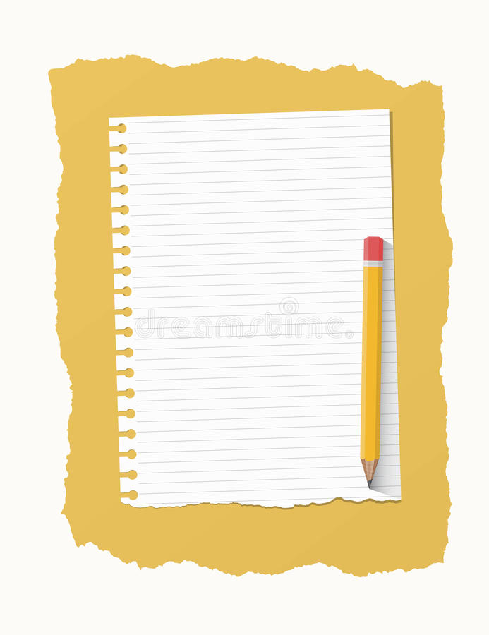 White Ripped Ruled Notebook Paper Sheet Are On Yellow Background – Yellow Notebook Paper Background