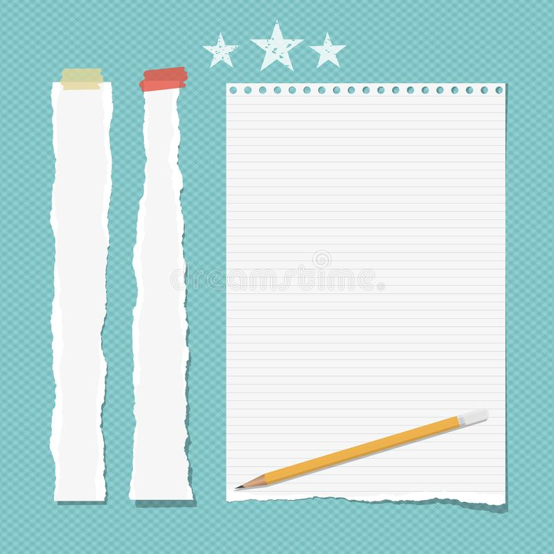 White ripped strips, copybook, notebook paper with pencil for note or text stuck with sticky tape and stars on turquoise. Background vector illustration