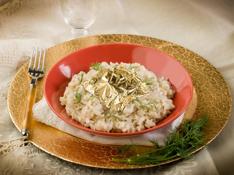 Download White Risotto With Gold Leaf Stock Image - Image of table, dinner: 22571515