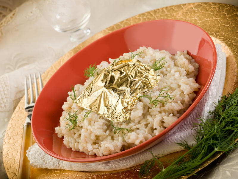 Download White Risotto With Gold Leaf Stock Image - Image of flower, parmesan: 22571533
