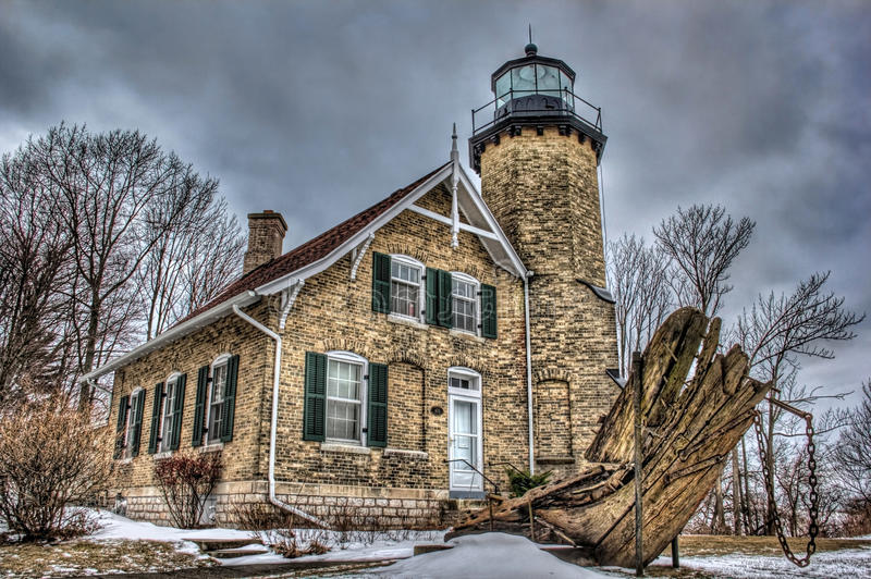White River Lighthouse. Picture of the White River Lighthouse in the Winter. The White River Lighthouse is on Lake Michigan stock photos