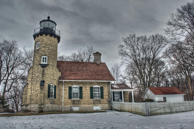 White River Lighthouse. Picture of the White River Lighthouse in the Winter. The White River Lighthouse is on Lake Michigan stock photography